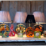 Retro resin lamps at Ropewalk some with crab, limpet shell, seaweed and coral.
