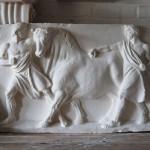 Plaster cast of men leading a bull, 42280