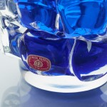 A blue and clear pressed glass vase, by Frantisek Vizner for Sklo Union Works, Bohemia. 1970