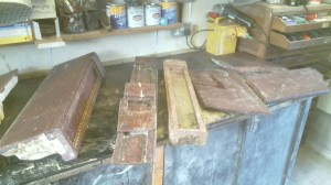 Marble fireplace in pieces
