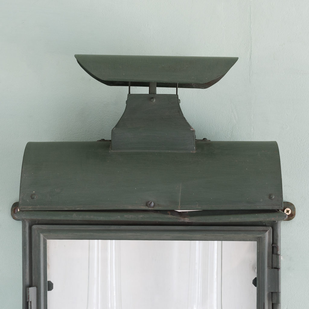Stable lantern with two simulated oil lamp fittings-117533