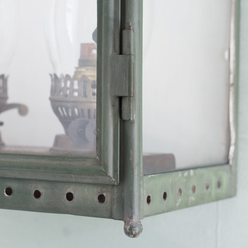 Stable lantern with two simulated oil lamp fittings-117531