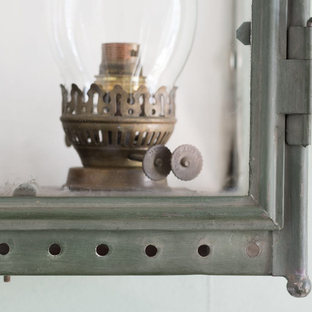 Stable lantern with two simulated oil lamp fittings-117534