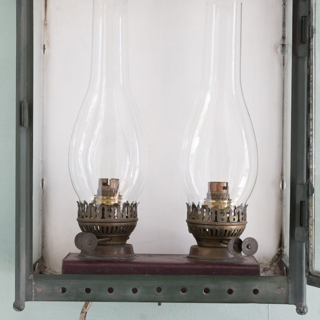 Stable lantern with two simulated oil lamp fittings-117532