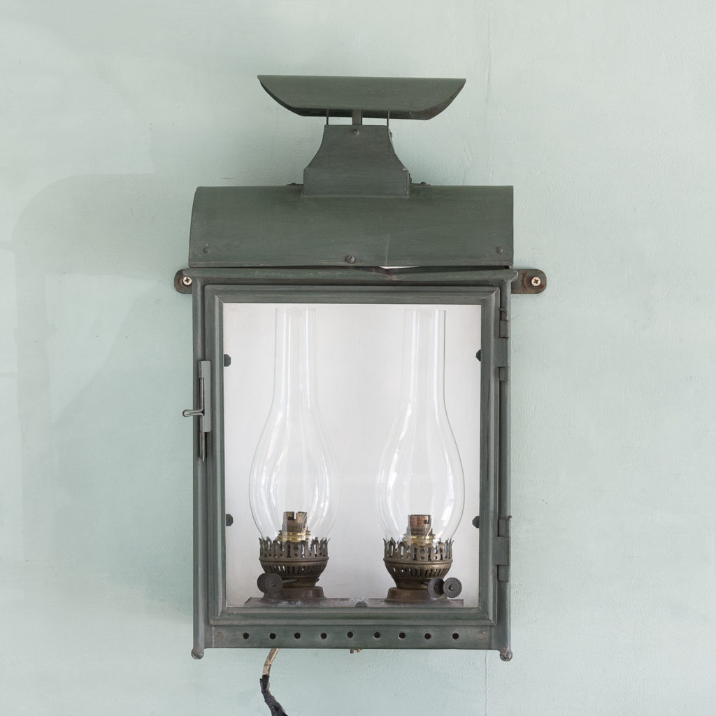 Stable lantern with two simulated oil lamp fittings-117529