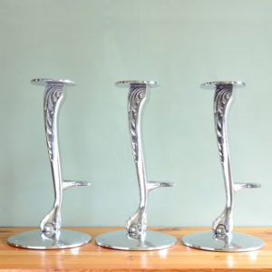 Polished aluminium bar stool bases