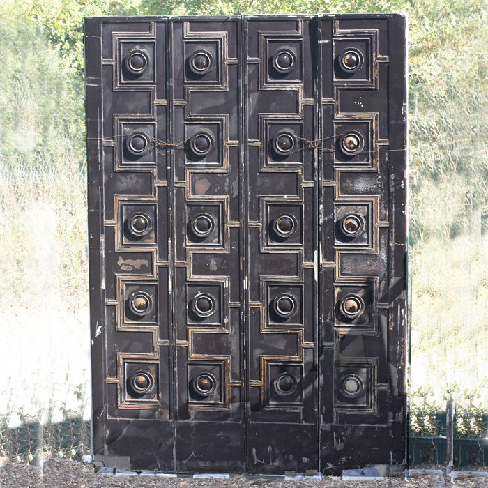 A pair of English bronze doors,-0
