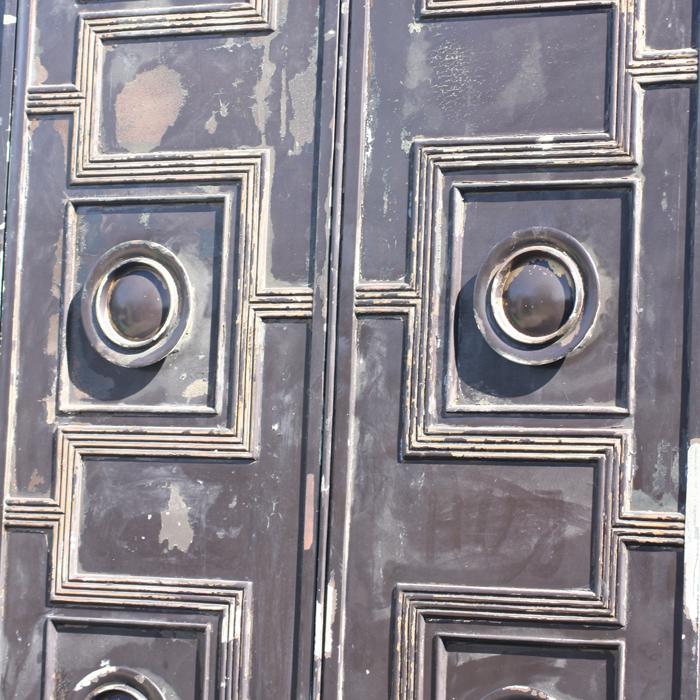 A pair of English bronze doors,-131612