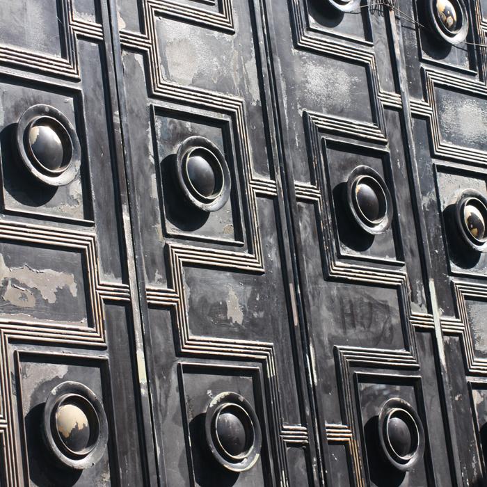 A pair of English bronze doors,-131611