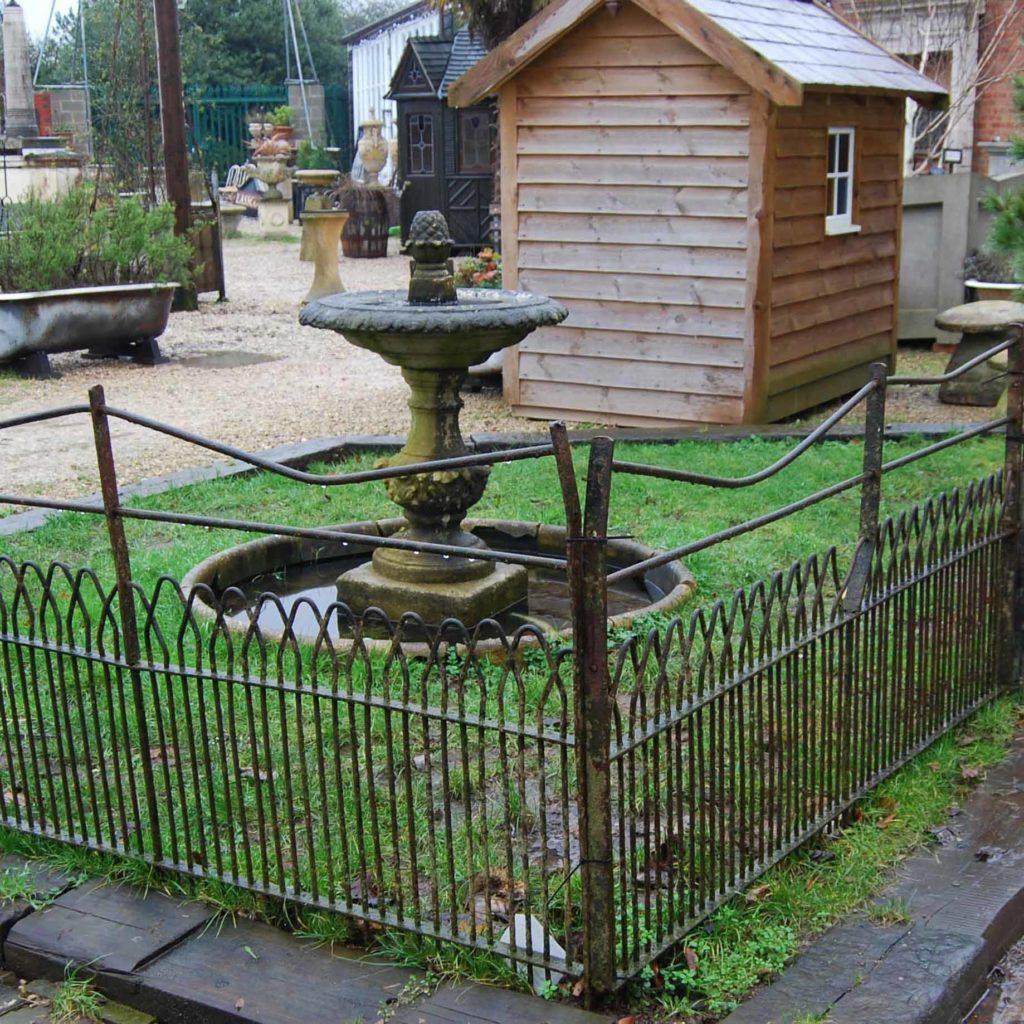 A good run of antique wrought iron estate fencing-0