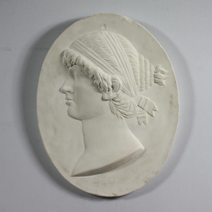 An English relief cast plaster portrait relief plaque of Sappho-122933