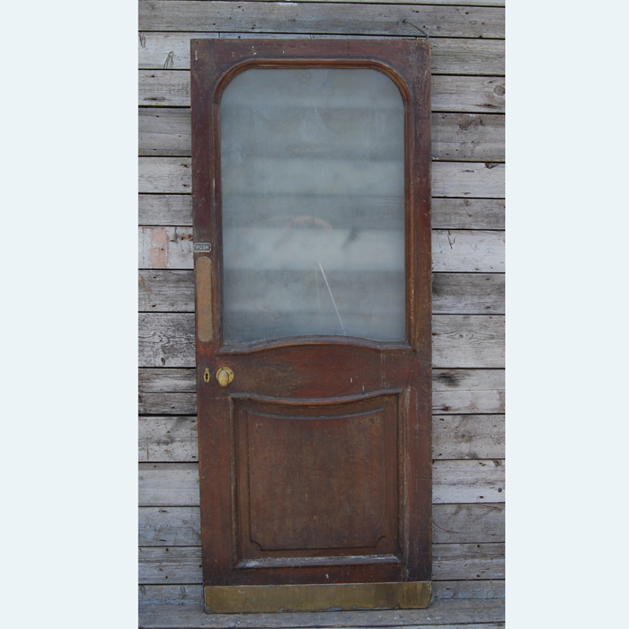 A mahogany half glazed pub door,-105974