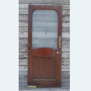 A mahogany half glazed pub door,-0