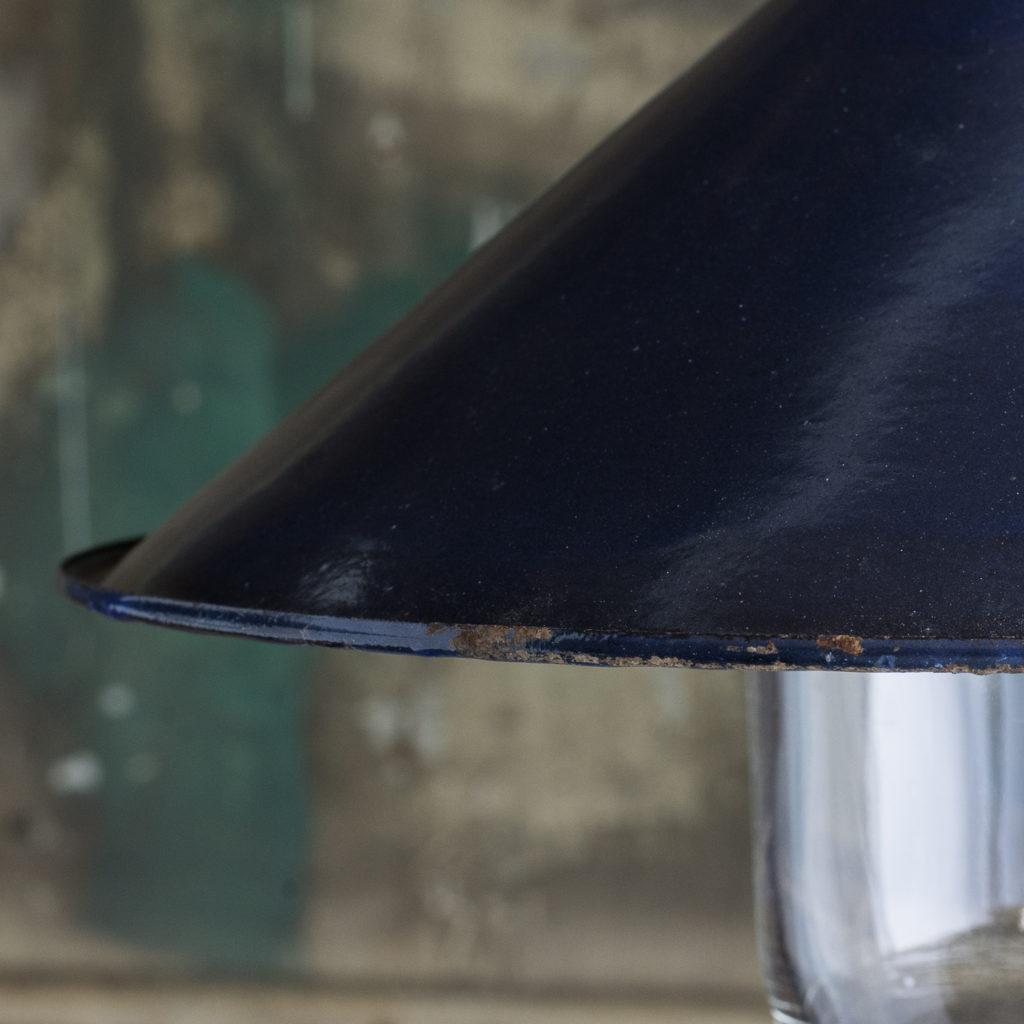 Small blue enamel pendant lights -117005