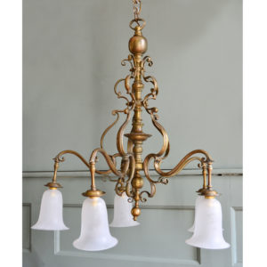 English five-arm brass chandelier,-0
