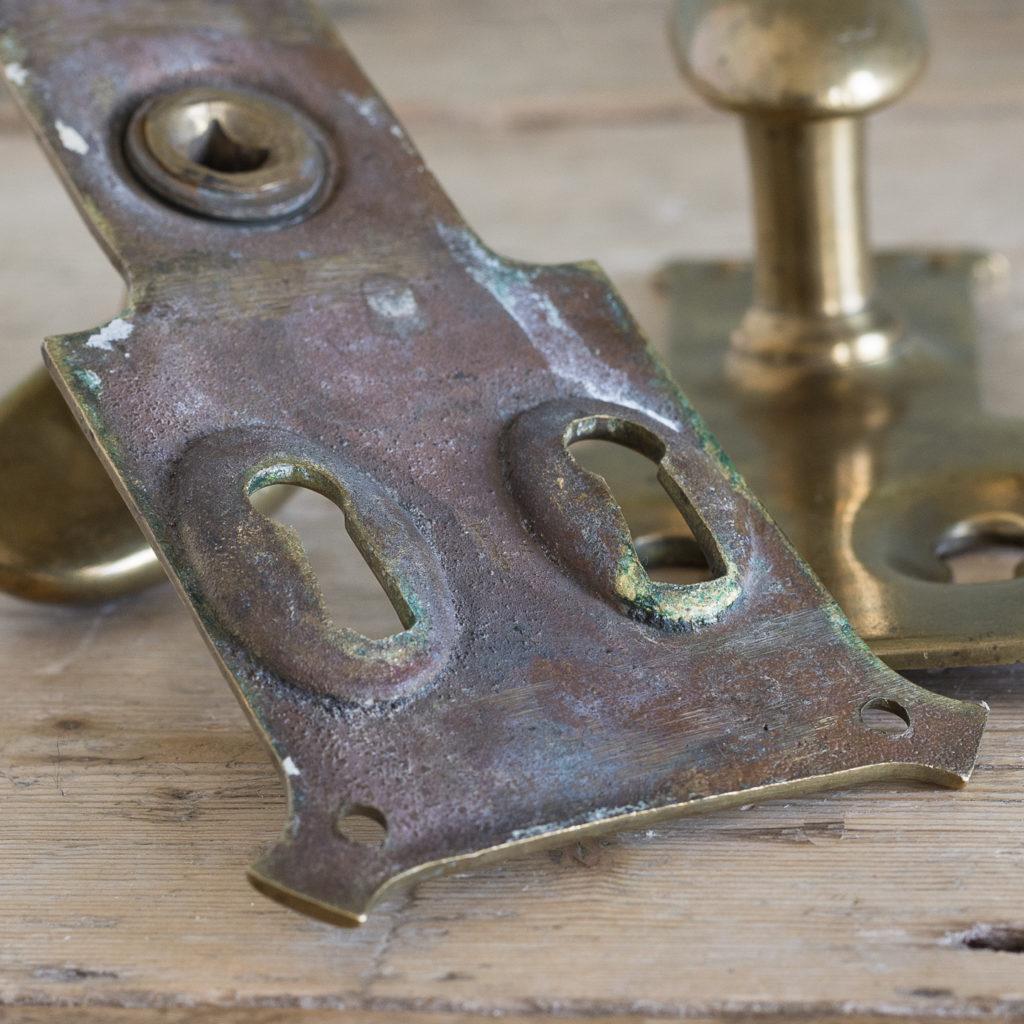 Pair of unusual oval brass door knobs,-119984