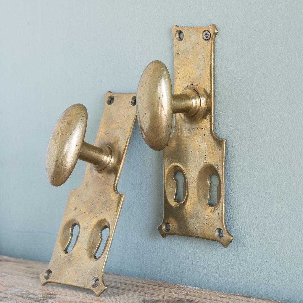 Pair of unusual oval brass door knobs,-119985