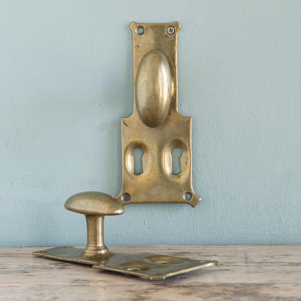 Pair of unusual oval brass door knobs,-0