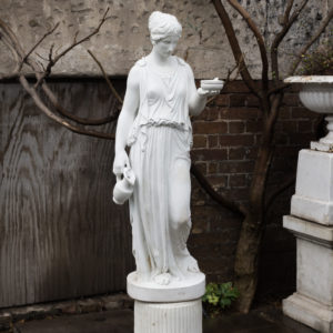 Small Italian reconstituted marble figure of Hebe,-0