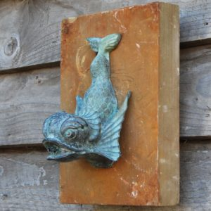 An English bronze dolphin wall fountain spout-0