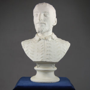 An English plaster portrait bust of a Florentine man in a slashed tunic-0