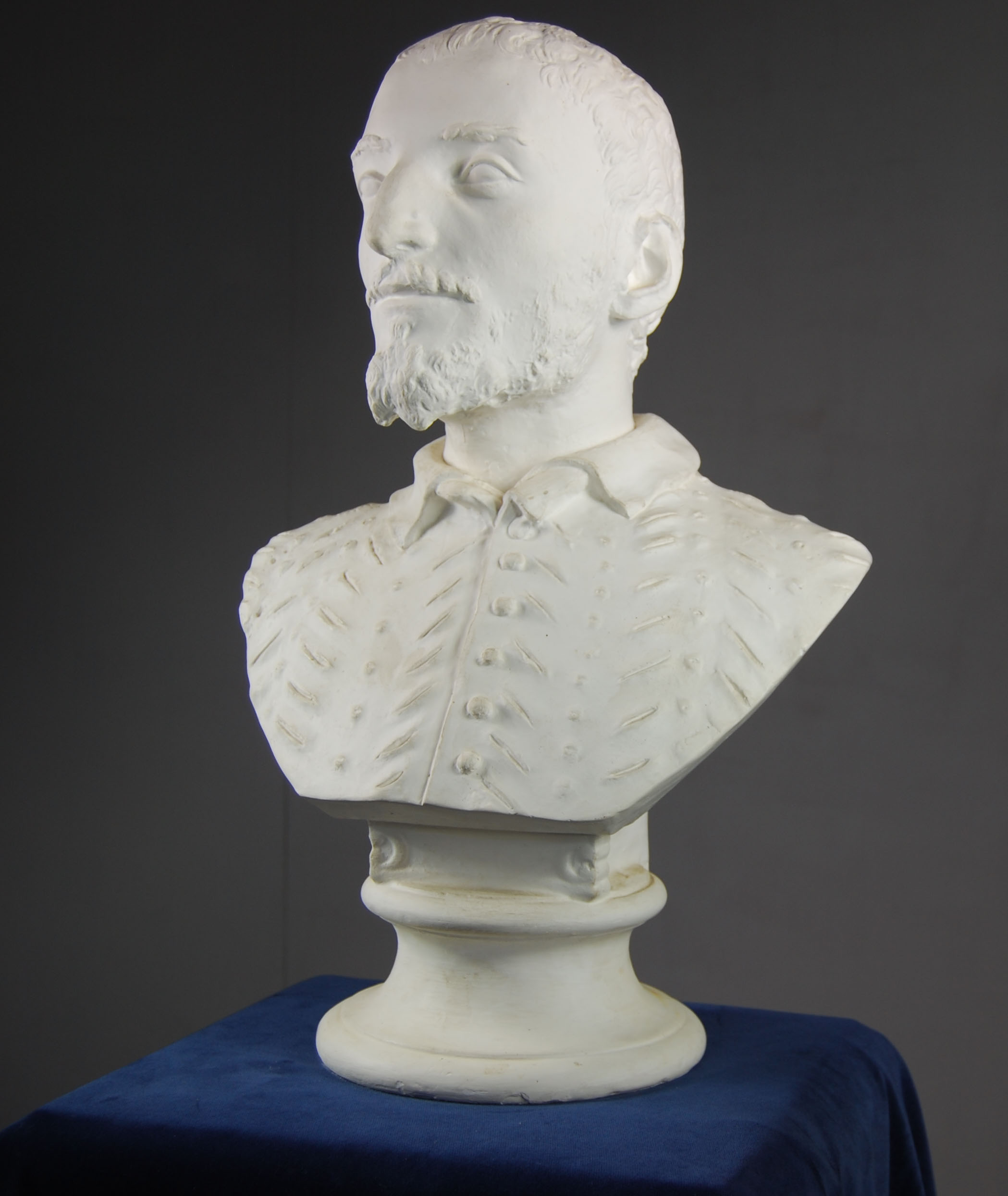 An English plaster portrait bust of a Florentine man in a slashed tunic-120252