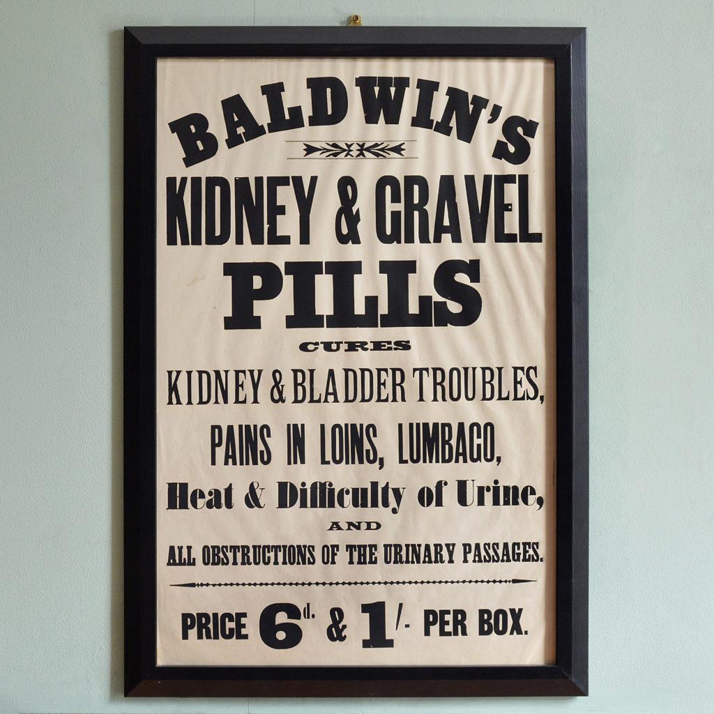 Original chemist shop advertising poster, Baldwin's Kidney and Gravel Pills-0