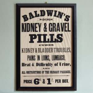 Original chemist shop advertising poster, Baldwin's Kidney and Gravel Pills-0