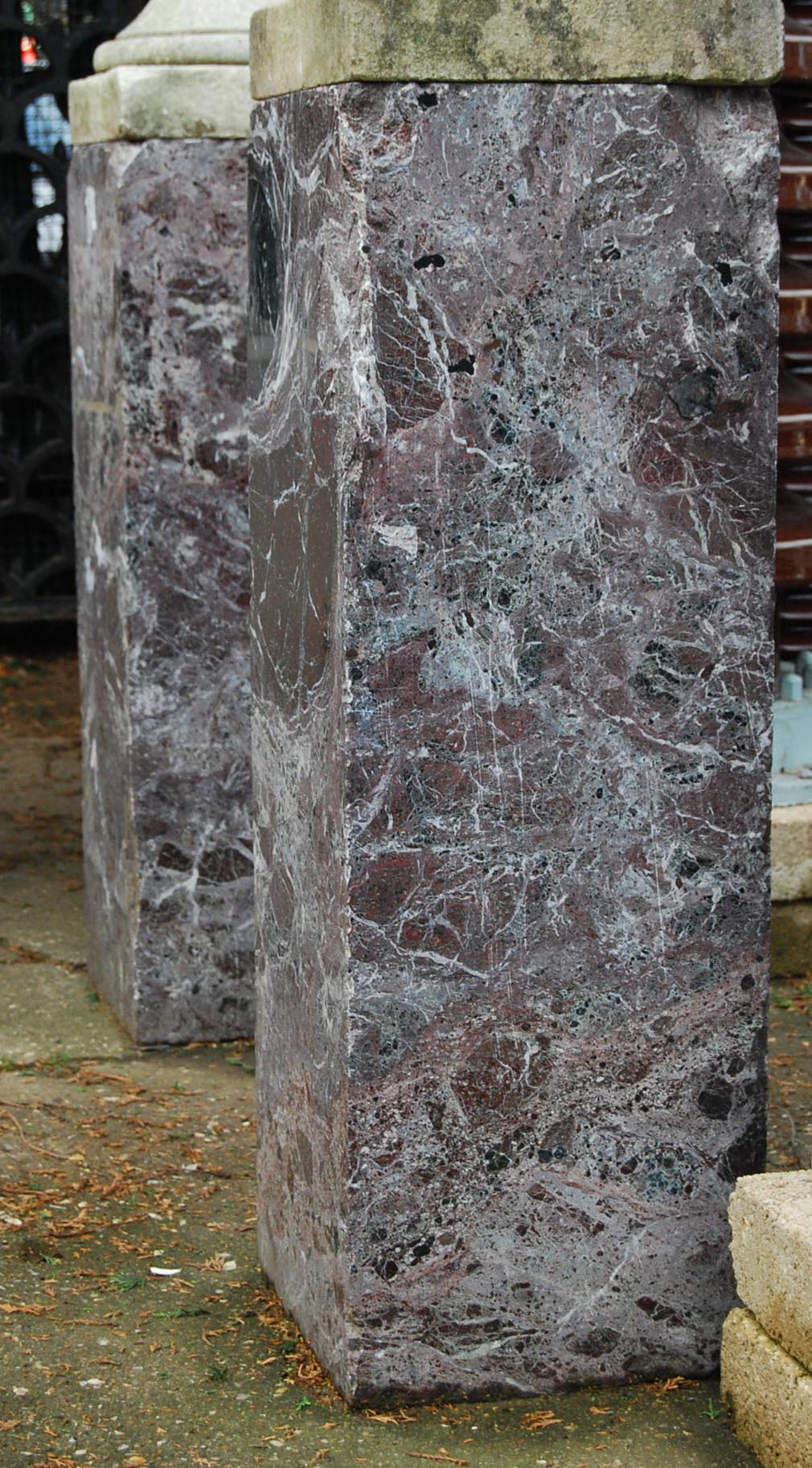 A pair of solid red marble pedestals-0
