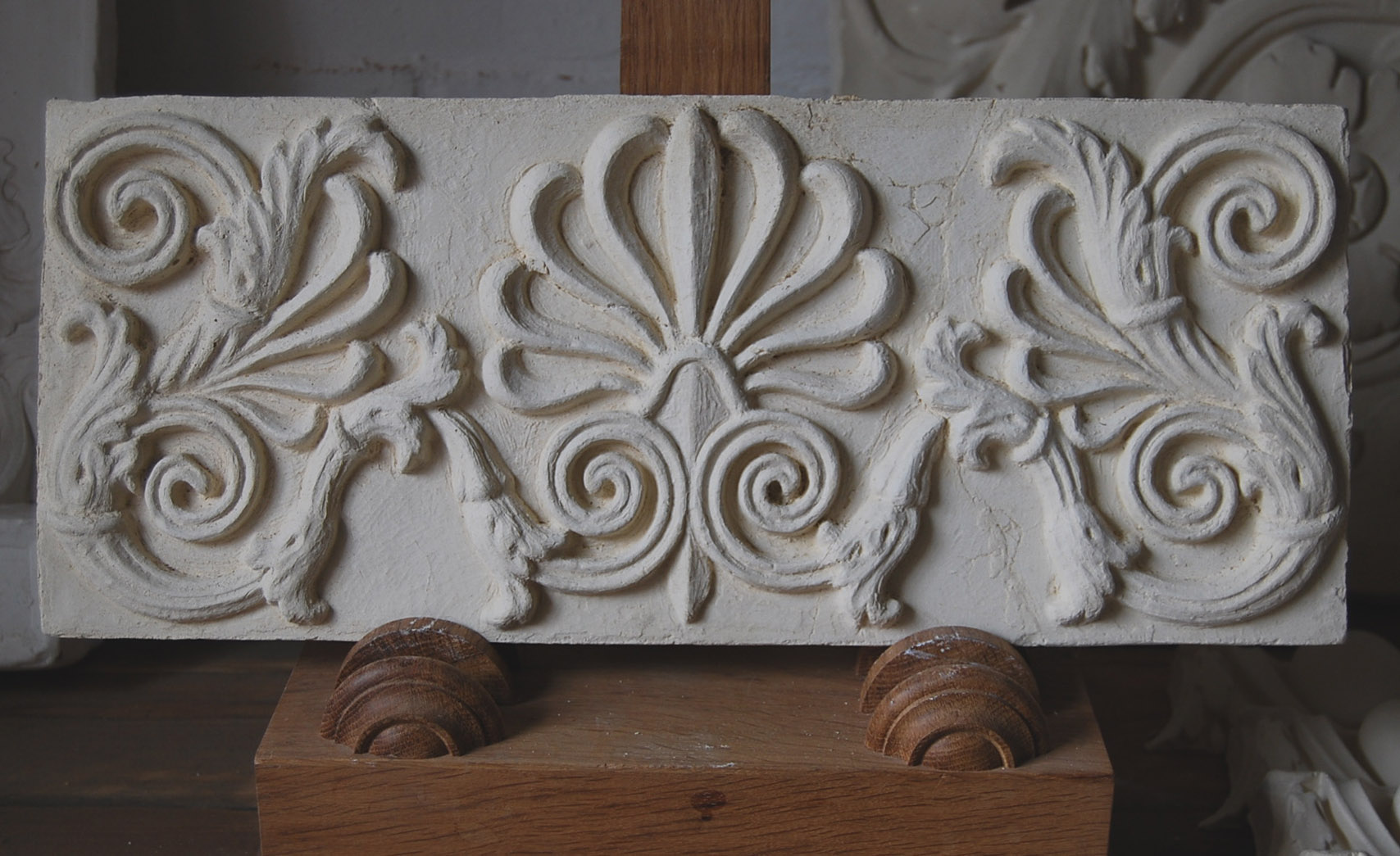 A cast plaster section of frieze with anthemion motif-0