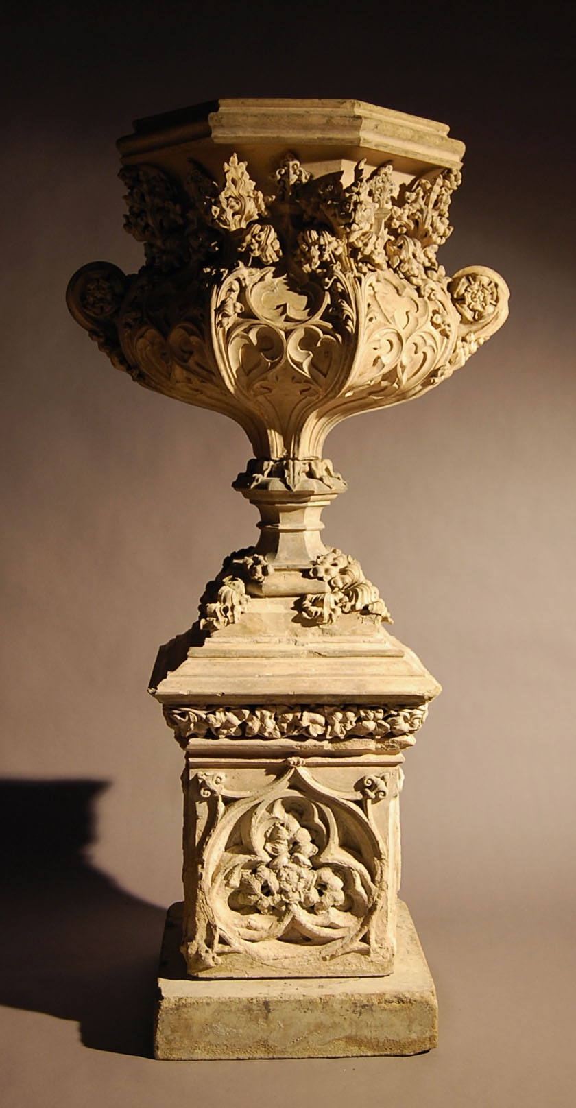 An early Victorian stoneware urn on pedestal-0