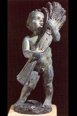 "An English bronze figure of a putto personifying ""Summer""-0"
