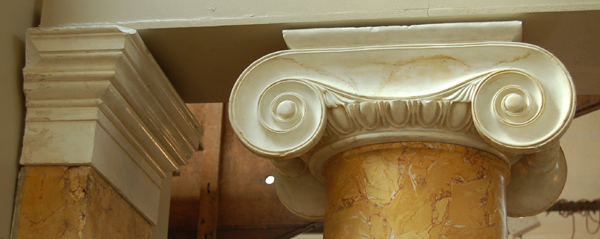 A pair of Ionic scagliola columns, with matching pilasters-0
