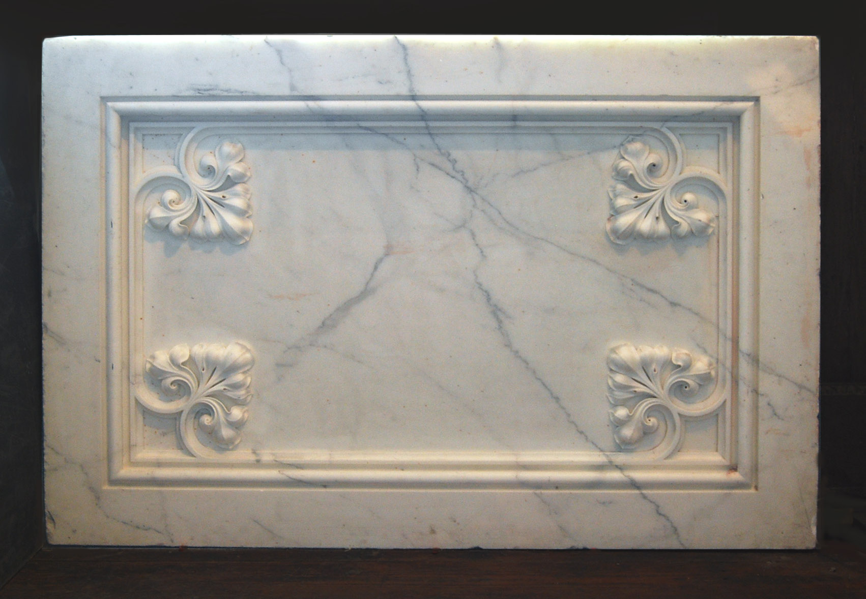 A pair of English carved statuary white marble altar panels-0