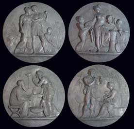 """A set of four lead roundels cast in relief with allegorical scenes depicting """"The Ages of Man""""-65251"""