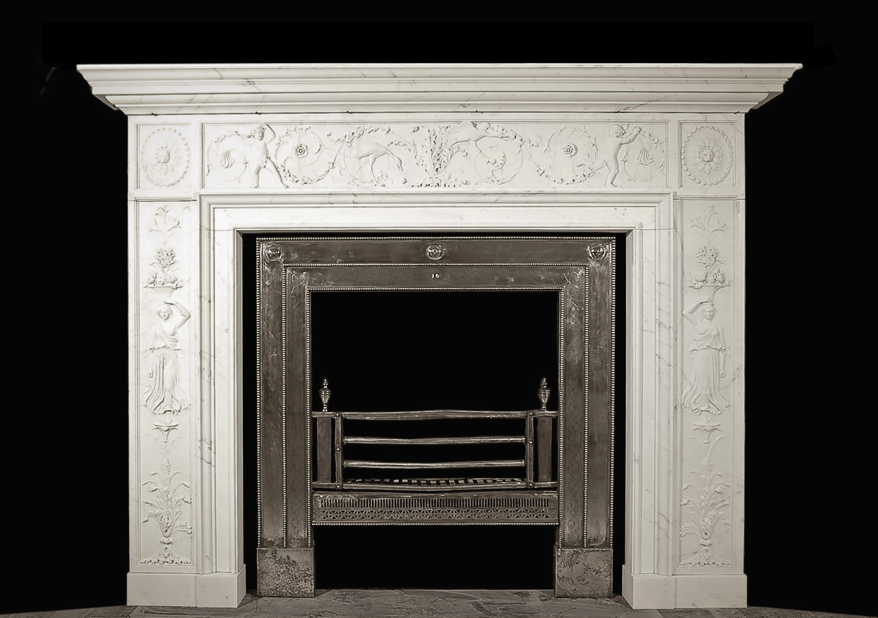 An exceptional English carved statuary marble chimneypiece and register grate-0