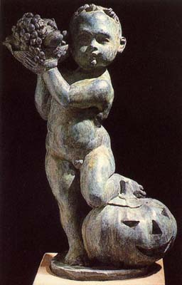 """An English bronze figure of a putto personifying """"Autumn""""-0"""
