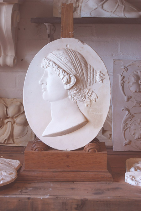 An English relief cast plaster portrait relief plaque of Sappho-74731
