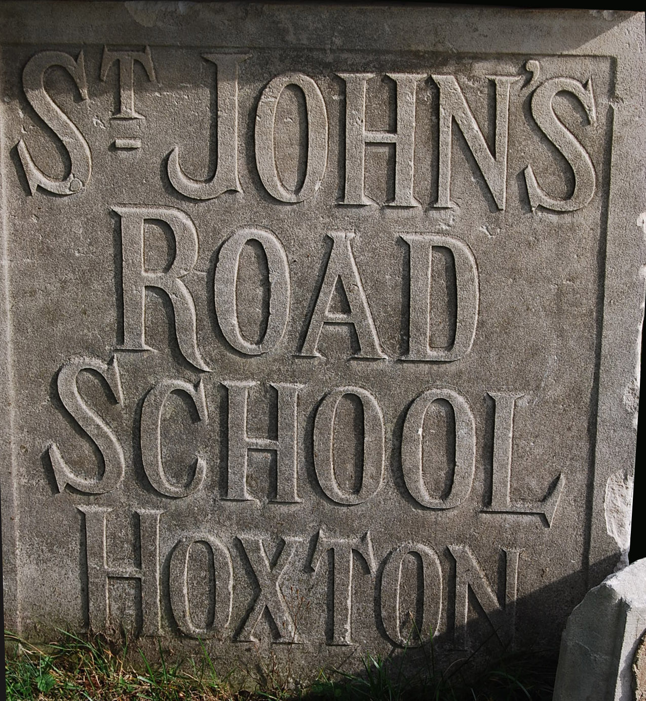 A carved Portland stone tablet 'St JOHN'S ROAD SCHOOL HOXTON'-72692