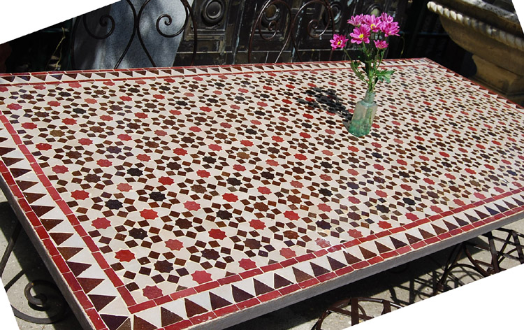 A Moorish mosaic topped dining table-0