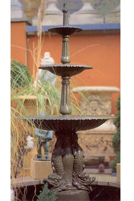 An English cast iron three-tier fountain-0