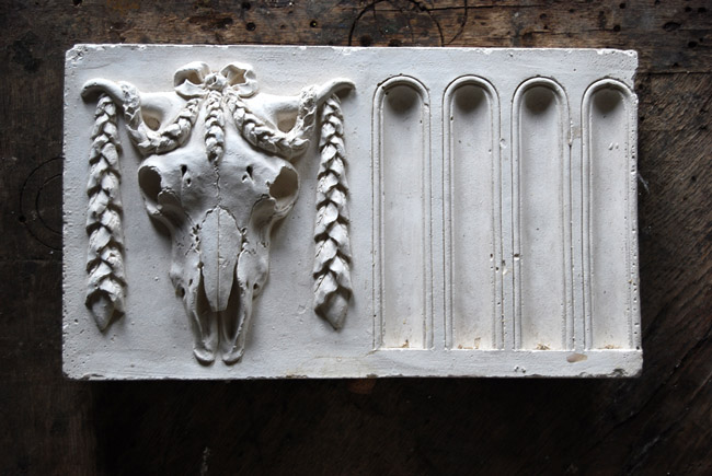 An English relief cast plaster bucranium frieze panel-0