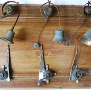 A set of three Victorian sprung servants' indicator bells-0