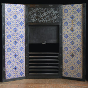 An Aesthetic Movement cast iron 'Parson's Grate' with original tiled cheeks-0