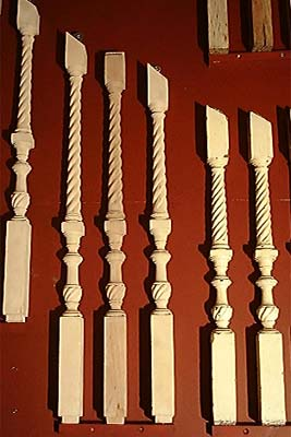 A series of oak staircase spindles-0