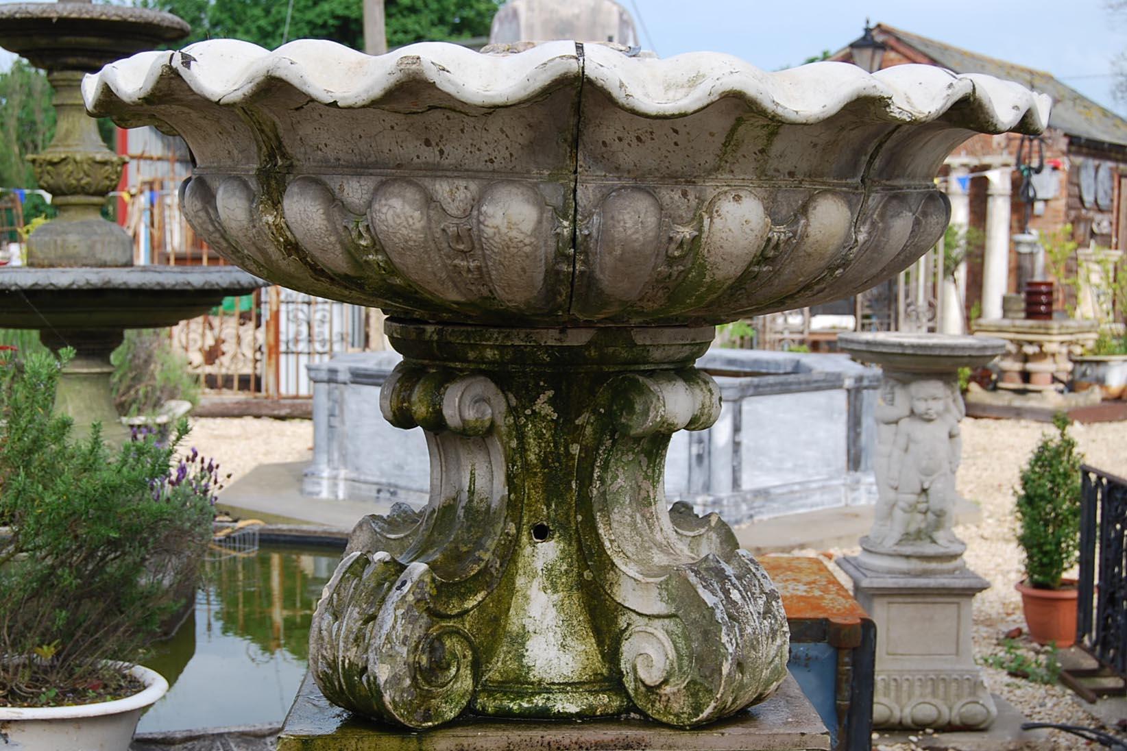 A glazed stoneware fountain bowl-0