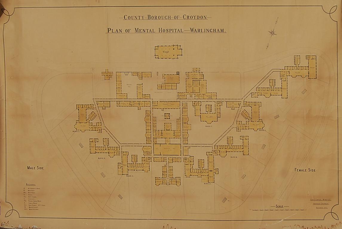 """A large Edwardian plan of """"Warlingham Mental Hospital""""-0"""