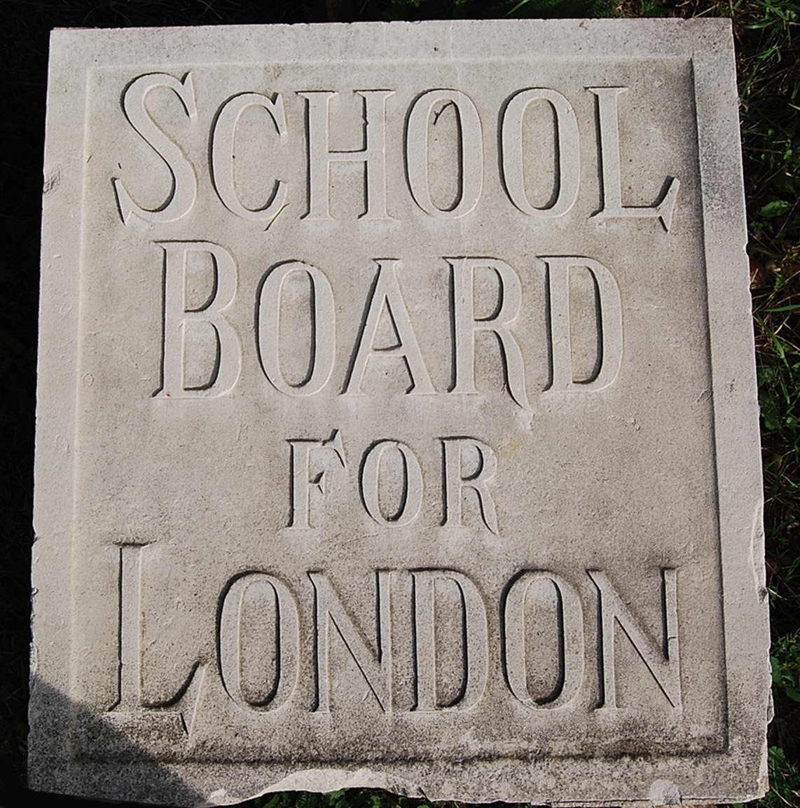 A carved Portland stone tablet 'SCHOOL BOARD FOR LONDON'-72691