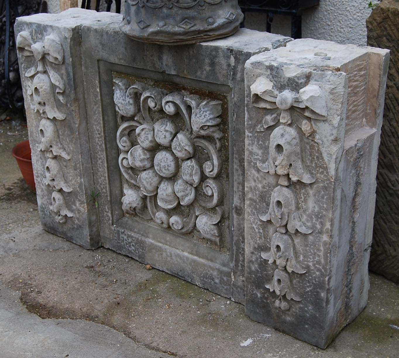 An English carved Portland stone section of masonry-0