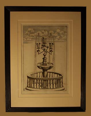 A set of eight Dutch prints of fantastical fountains-64757